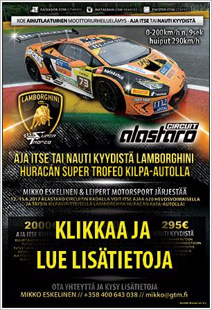 Aja itse Lamborghini Huracan Super Trofeo autolla Alastaro Circuitilla! Klikkaa ja lue lisätietoja!